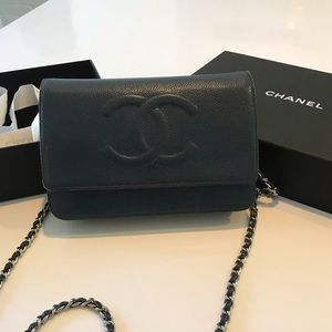 Chanel WOC navy blue timeless CC caviar leather